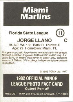 82b805e6c 1982 TCMA Miami Marlins  11 Jorge Llano Back