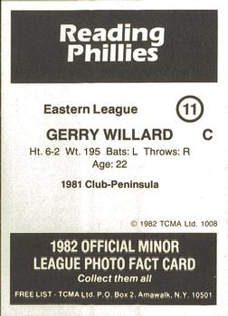1982 TCMA Reading Phillies #11 Gerry Willard Back