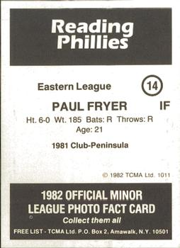 1982 TCMA Reading Phillies #14 Paul Fryer Back