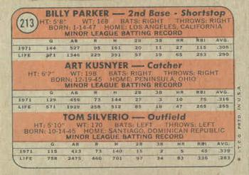 1972 Topps #213 Angels Rookies - Billy Parker / Art Kusnyer / Tom Silverio Back