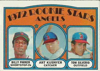 1972 Topps #213 Angels Rookies - Billy Parker / Art Kusnyer / Tom Silverio Front