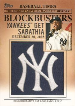 2012 Topps Update - Blockbusters Commemorative Hat Logo Patch #BP-2 CC Sabathia Front