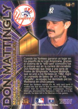 1996 Pacific Crown Collection - Milestones #M-2 Don Mattingly Back