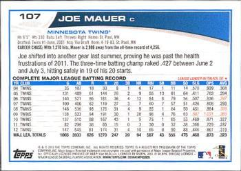 2013 Topps #107 Joe Mauer Back