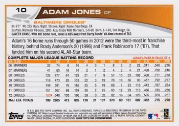 2013 Topps #10 Adam Jones Back