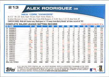 2013 Topps #213 Alex Rodriguez Back