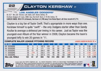 2013 Topps #22 Clayton Kershaw Back