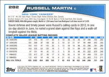 2013 Topps #282 Russell Martin Back