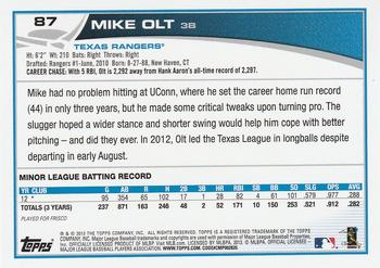 2013 Topps #87 Mike Olt Back