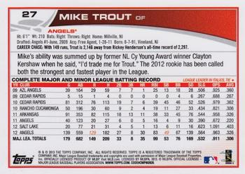 2013 Topps #27 Mike Trout Back
