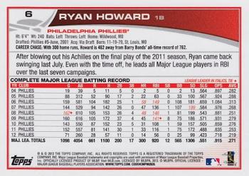 2013 Topps #6 Ryan Howard Back
