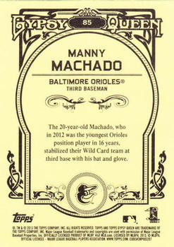 2013 Topps Gypsy Queen #85 Manny Machado Back
