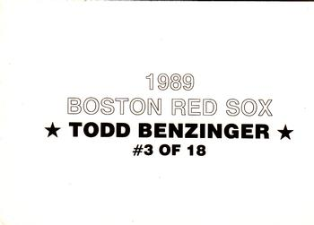 1989 Boston Red Sox Team Set (unlicensed) #3 Todd Benzinger Back