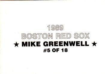 1989 Boston Red Sox Team Set (unlicensed) #5 Mike Greenwell Back