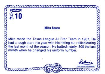 1989 Rock's Dugout Wichita Wranglers #10 Mike Basso Back
