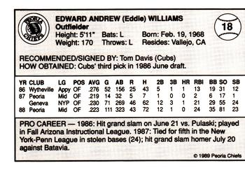 1989 Peoria Chiefs Team Issue #18 Eddie Williams Back