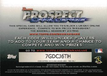 2013 Bowman #NNO Prospect Challenge Game Entry Back
