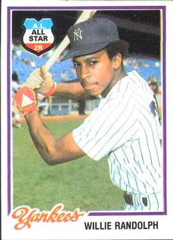 1978 Burger King New York Yankees #13 Willie Randolph Front