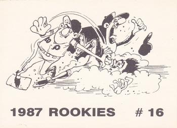 1987 Broder Rookies (Cartoon Back, unlicensed) #16 Mark McGwire Back