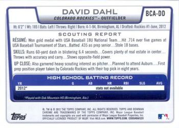 Verzamelkaarten: sport 2013 Bowman Draft Picks & Prospects Top Red Ice TP-7 David Dahl Colorado Rockies
