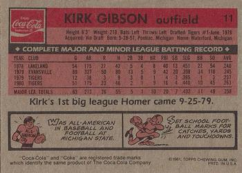 1981 Topps Coca-Cola Detroit Tigers #11 Kirk Gibson  Back