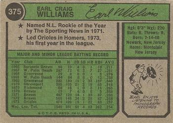 1974 Topps #375 Earl Williams Back