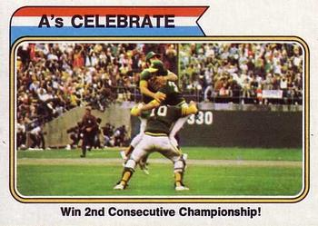 1974 Topps #479 1973 World Series Summary - A's Celebrate Front