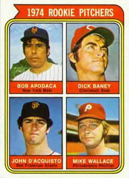 1974 Topps #608b Rookie Pitchers - Bob Apodaca / Dick Baney / John D'Acquisto / Mike Wallace Front