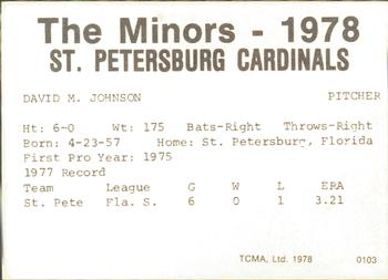 1978 TCMA St. Petersburg Cardinals #NNO Dave Johnson Back