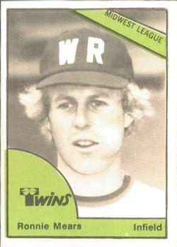 1978 TCMA Wisconsin Rapids Twins #0406 Ronnie Mears Front