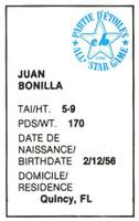 1982 All-Star Game Program Inserts #NNO Juan Bonilla Back