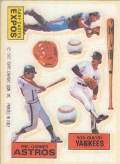 1985 Topps Rub Downs #11 Gary Carter / Phil Garner / Ron Guidry Front