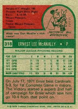 1975 Topps #318 Ernie McAnally Back