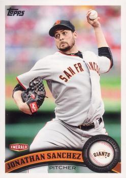 2011 Topps San Francisco Giants Emerald Nuts #SFG10 Jonathan Sanchez Front