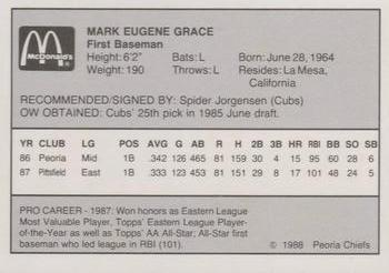 1988 Peoria Chiefs #11 Mark Grace Back