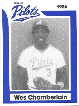 1986 Anchorage Glacier Pilots #5 Wes Chamberlain Front