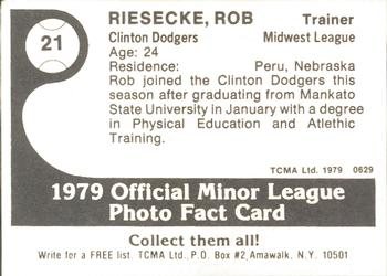 1979 TCMA Clinton Dodgers #21 Rob Giesecke Back