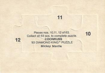 1983 Donruss Hall of Fame Heroes - Mickey Mantle Puzzle #10 Mantle Puzzle 10-12 Back