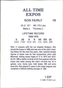 1986 TCMA All-Time Montreal Expos #1-EXP Ron Fairly Back