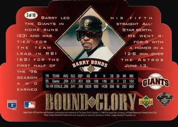 1996 SPx - Bound for Glory #3 Barry Bonds Back