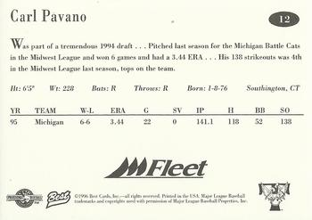 1996 Best Trenton Thunder #12 Carl Pavano Back
