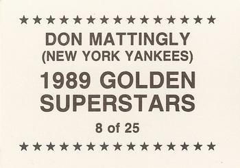 1989 Golden Superstars (unlicensed) #8 Don Mattingly Back