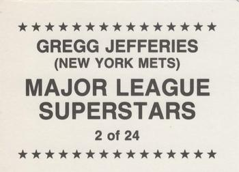 1989 Major League Superstars (unlicensed) #2 Gregg Jefferies Back