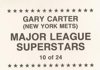 1989 Major League Superstars (unlicensed) #10 Gary Carter Back