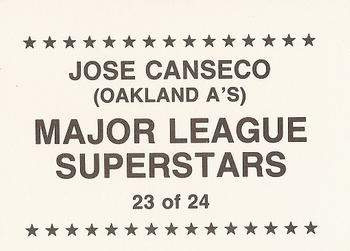 1989 Major League Superstars (unlicensed) #23 Jose Canseco Back