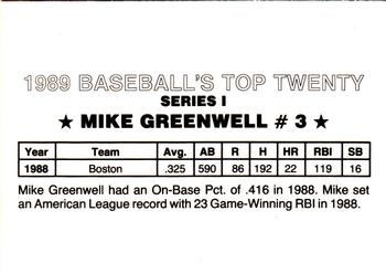 1989 Baseball's Top Twenty (unlicensed) #3 Mike Greenwell Back