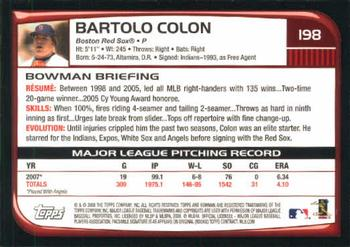 2008 Bowman #198 Bartolo Colon Back