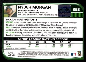 2008 Bowman #222 Nyjer Morgan Back
