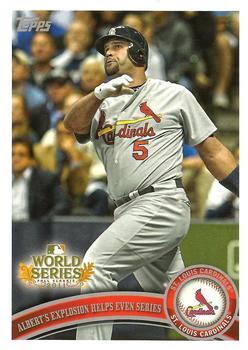St Louis Cardinals 2011 World Series Champions Albert Pujols and Lance Berkman baseball card 2012 Topps #53