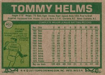 1977 Topps #402 Tommy Helms Back